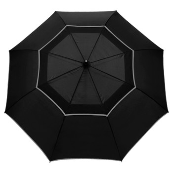 "Black - 64"" Auto Open Reflective Golf Umbrella 