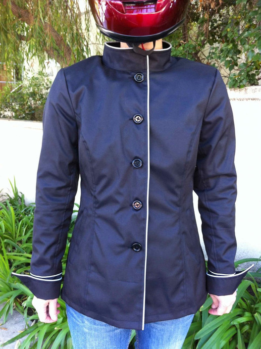 GOGO GEAR BLACK CAFE JACKET NON-VENTILATED FRONT VIEW