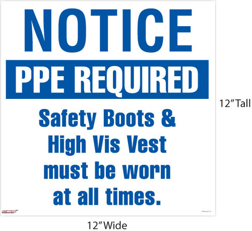 """PPE Required"" Sign. Boots & Vest"