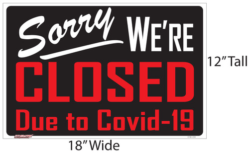 Closed Due to Covid-19 Store Sign
