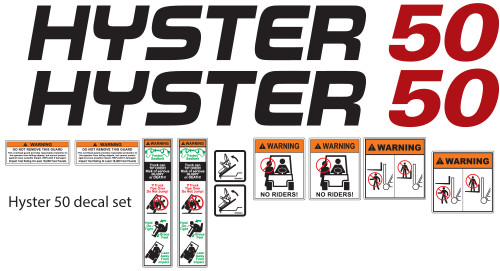 Hyster 50 Forklift Decal Kit