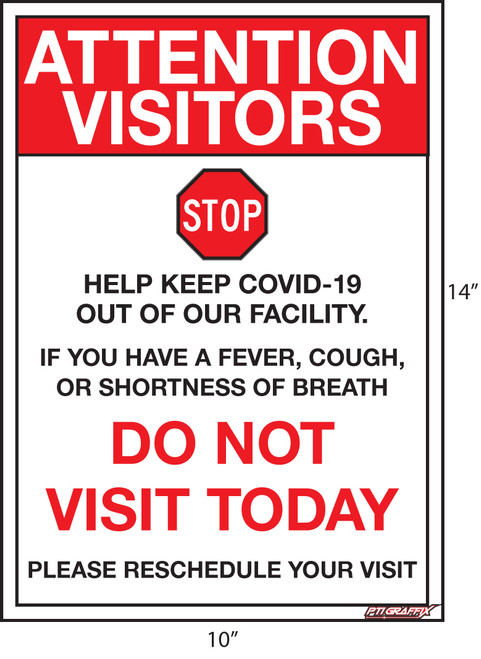 Do Not Visit Today Covid Sign