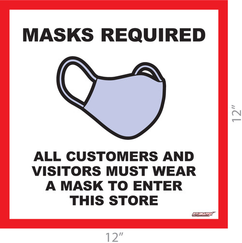 Masks Required Covid-19 Adhesive Sign
