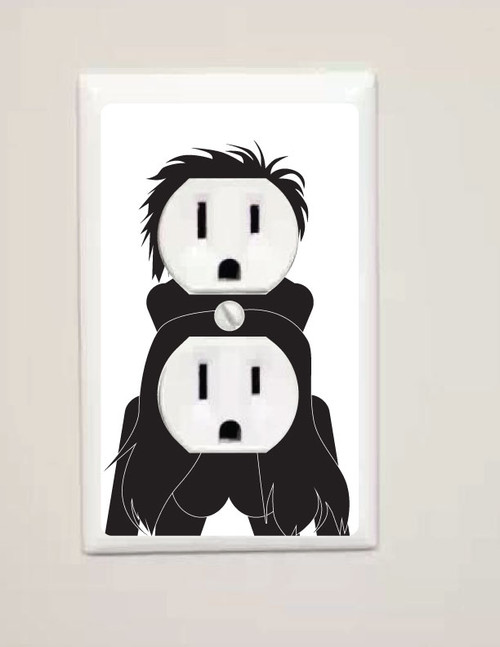 Wall Outlet Humping Sticker. Round Receptacle.
