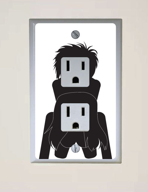 Wall Outlet Humping Sticker. Square Receptacle.