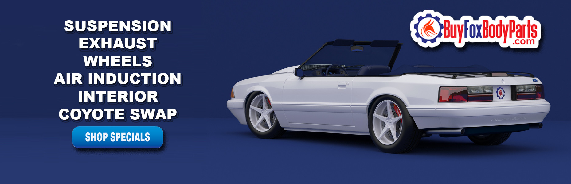 BuyFoxBodyParts.com has a large selection of 1979-1993 Fox Body Mustang Parts like suspension, exhaust, wheels, cold air intakes, interior and coyote swap parts.