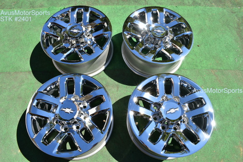 "18"" Chevy Silverado 2500 3500 OEM WHEELS GMC Sierra CHROME 2015 2016 LTZ"
