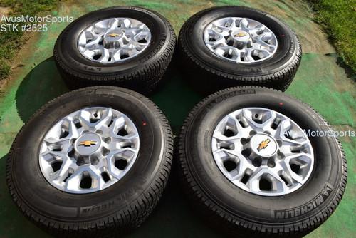"18"" Chevy Silverado 2500 3500 OEM WHEELS TIRES GMC Sierra 2021 Michelin"