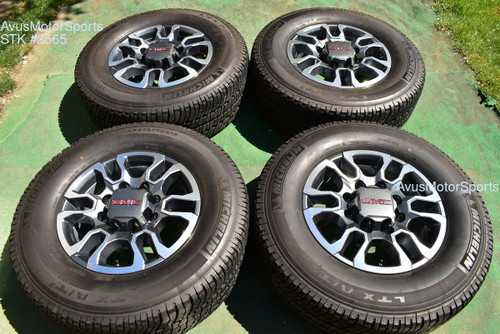 "18"" GMC Sierra 2500 3500 OEM WHEELS TIRES Chevy Silverado 2021 Michelin"