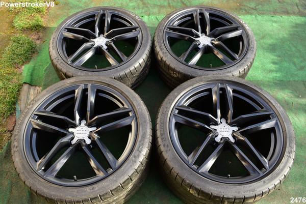 "19"" Audi R8 OEM Factory Genuine Staggered Wheels + Michelin Tires Black"