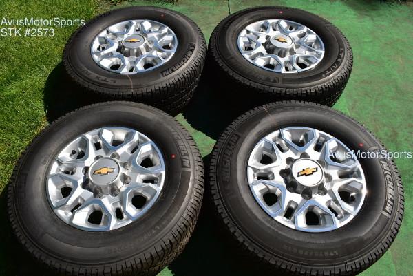 "18"" Chevy Silverado 2500 3500 OEM WHEELS TIRES GMC Sierra 2021 Michelin oem2573"