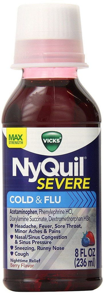 Vicks NyQuil Severe Cold & Flu Nighttime Relief Berry Flavor Liquid 8 Fl Oz
