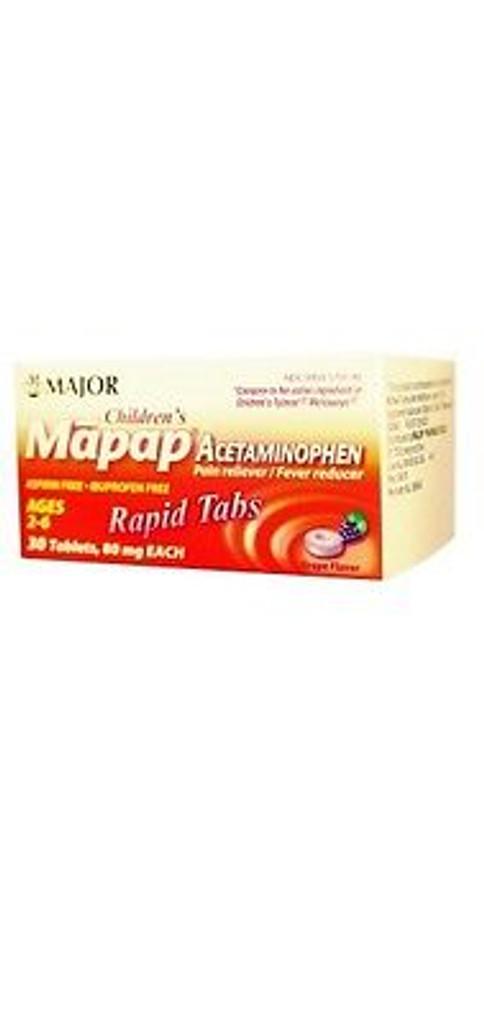Major Children's MAPAP ACETAMINOPHEN ORAL RAPDIS 80mg GRAPE 30 CT
