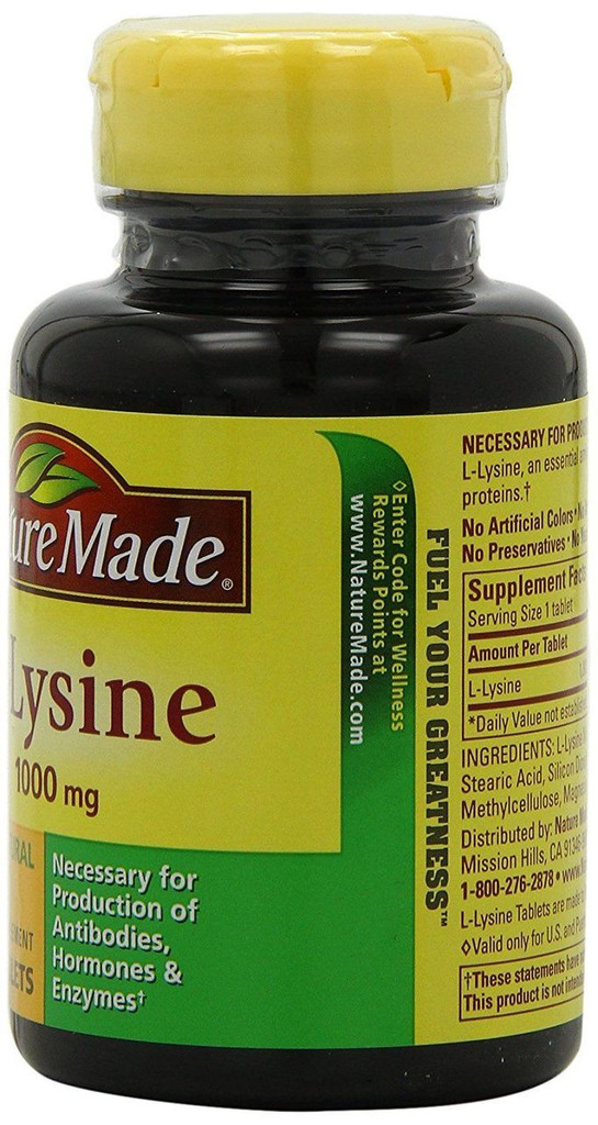 Nature Made L-Lysine 1000mg 60 Tablets Essential Amino Acid Proteins for Body