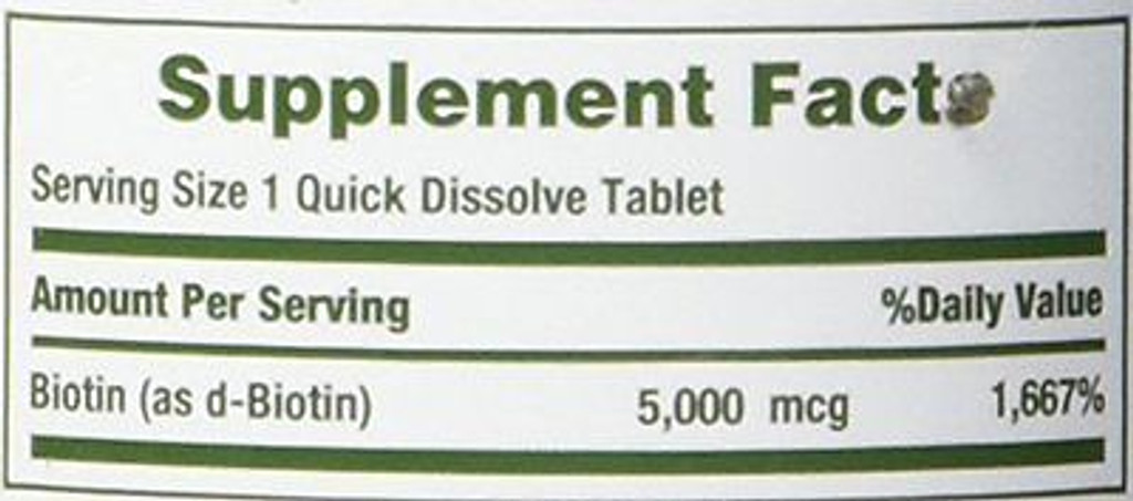 Nature's Bounty Biotin 5000 mcg 60 Quick Dissolve Tablets Hair, Skin, and Nails
