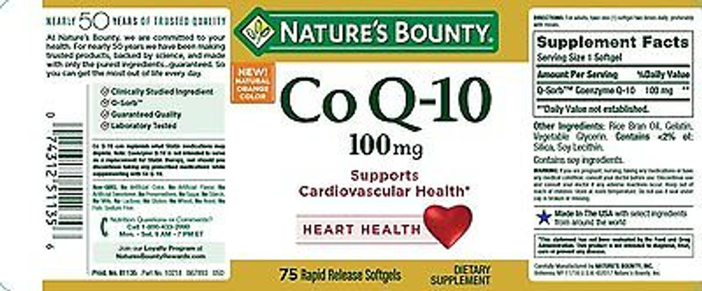 Nature's Bounty Co Q-10 100 mg 75 Softgels, Supports Cardiovascular Heart Health