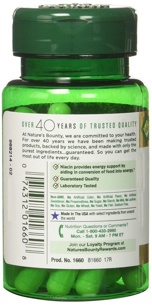 Nature's Bounty Niacin Flush Free 500mg 50 CT Metabolism & Nervous System Health