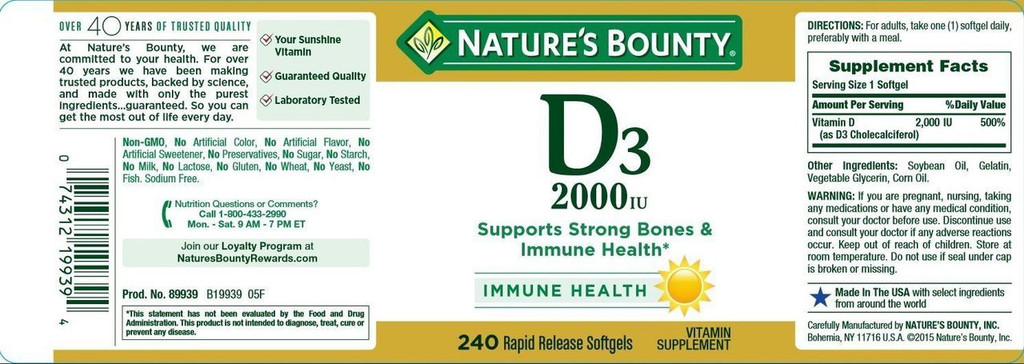 Nature's Bounty Vitamin D3 2000 IU 240 Softgels, Supports Strong Bones & Immune