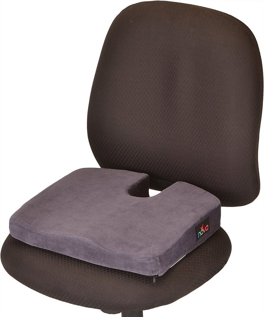NOVA Medical Products Memory Foam Coccyx Seat Cushion, Charcoal Blue #2655C