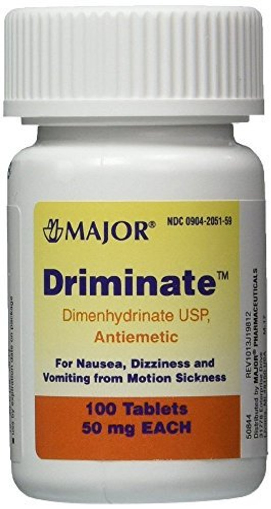 Driminate_Generic_for_Dramamine_Motion_Sickness_50_mg_Anti_Nausea_100 count_1
