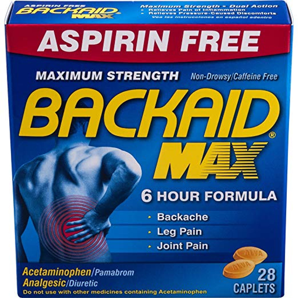 Backaid_Max_Relief_Caplets_28_Count_Aspirin_Free_Relief_from_Pain_of_Backache_Leg_Pain_and_Sciatica_Long_Lasting_6_Hour_Formula_Analgesic_Diuretic_1