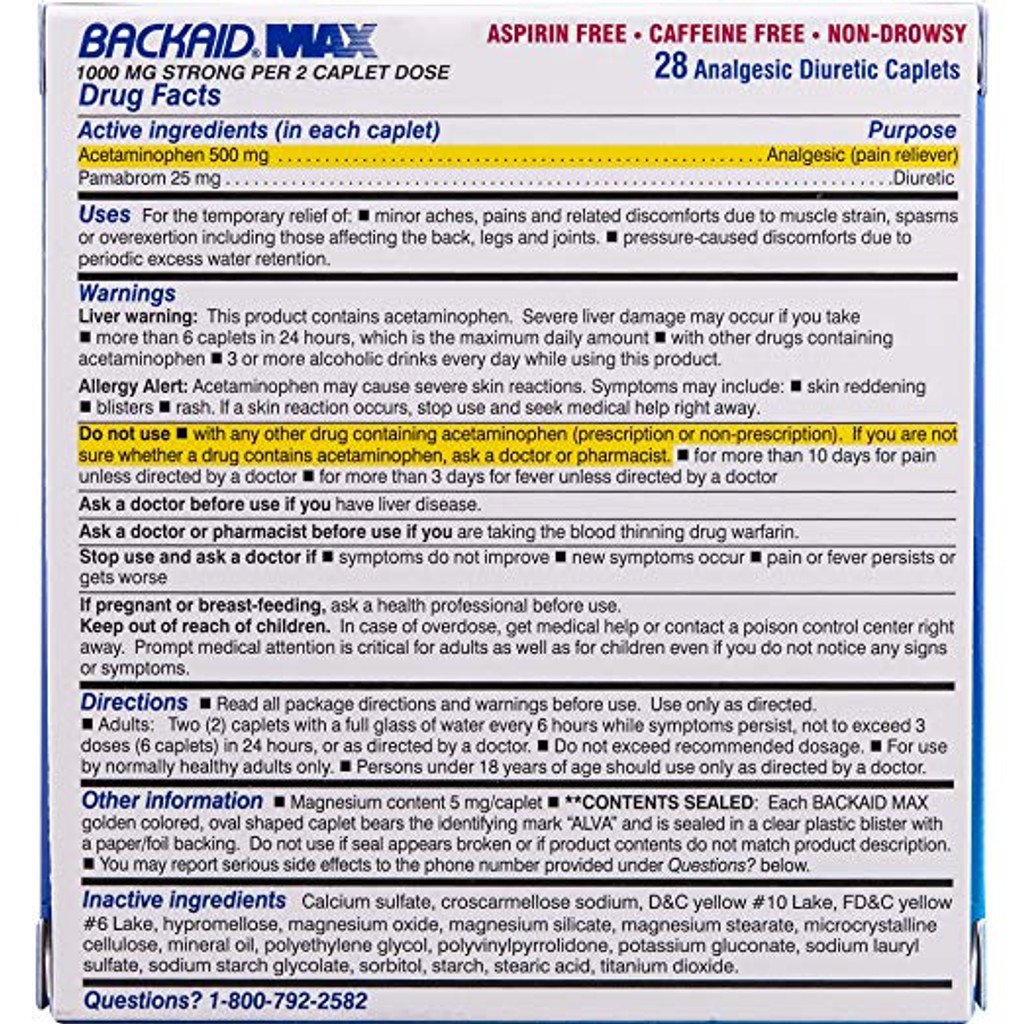 Backaid_Max_Relief_Caplets_28_Count_Aspirin_Free_Relief_from_Pain_of_Backache_Leg_Pain_and_Sciatica_Long_Lasting_6_Hour_Formula_Analgesic_Diuretic_2