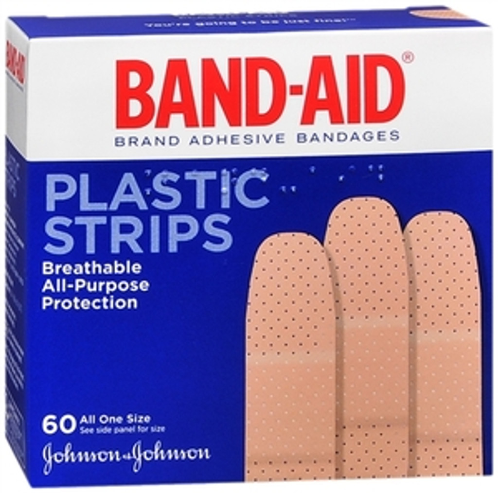 Band-Aid Adhesive Bandages, Plastic, All One Size, 60 sterile bandages