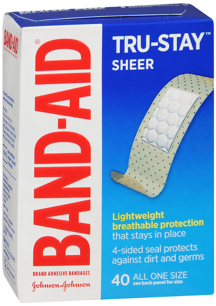 Band-Aid Comfort flex, Tru Stay Sheer Adhesive Bandages, One Size --- 40 Each