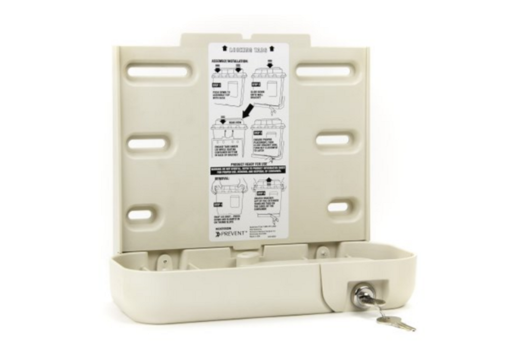 McKesson Prevent Sharps Collector Bracket Locking Wall Cabinet Plastic