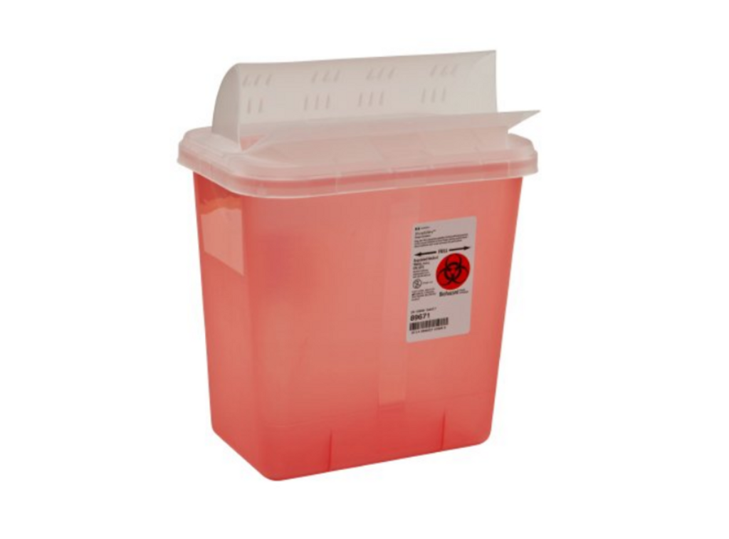 SharpSafety Multi-purpose Sharps Container 1-Piece 10H X 10.5W X 7.25D Inch 2 Gallon Translucent Base Horizontal Entry Lid