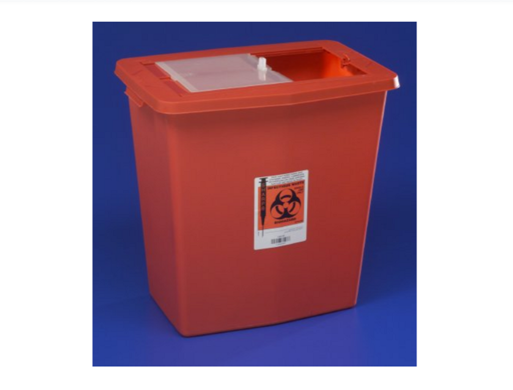 SharpSafety Multi-purpose Sharps Container 1-Piece 26H X 18.25W X 12.75D Inch 18 Gallon Red Base Vertical Entry Sliding Lid