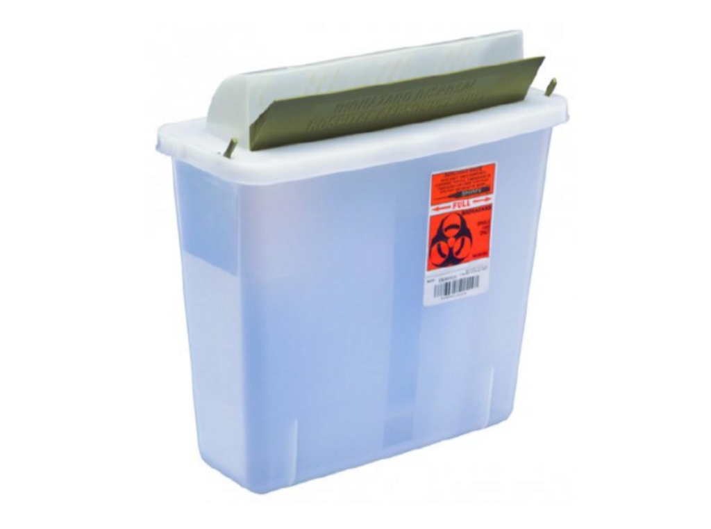 In-Room Multi-purpose Sharps Container 1-Piece 11H X 10.75W X 4.75D Inch 5 Quart Translucent Base Horizontal Entry Lid
