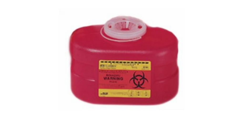 Multi-purpose Sharps Container 1-Piece 5.5H X 8.5W X 5D Inch 3.3 Quart Red Base Funnel Lid