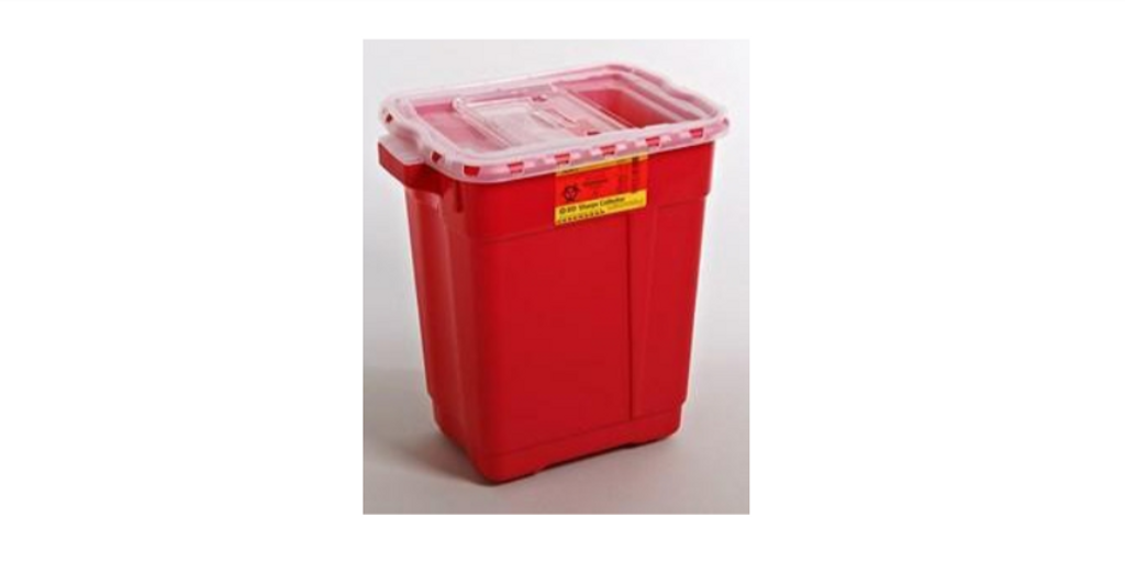 Multi-purpose Sharps Container 2-Piece 26.5H X 19.5W X 14.25D Inch 19 Gallon Red Base Sliding Lid
