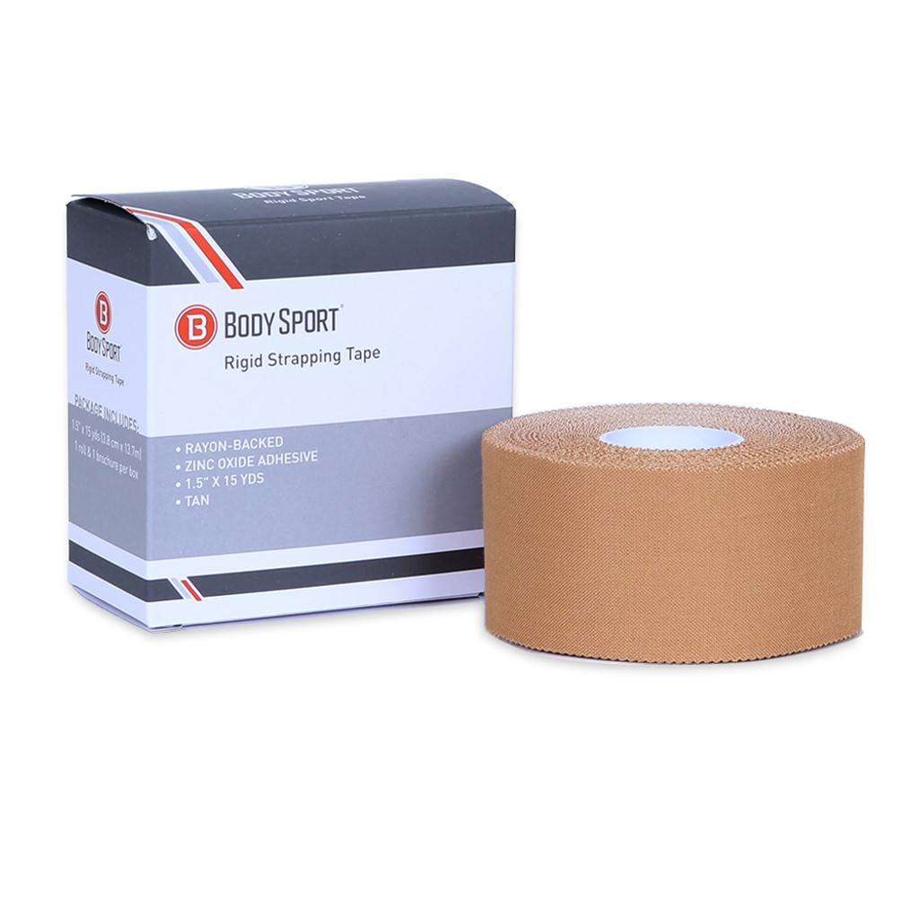 """BODY SPORT RIGID STRAPPING TAPE,  RAYON-BACKED, ZINC OXIDE ADHESIVE; 1.5"""" BY 15 YDS, TAN"""