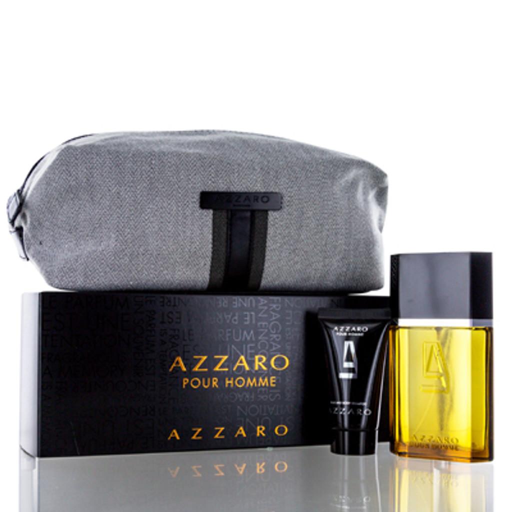 AZZARO MEN/AZZARO SET (M) EDT SPRAY 3.3 OZ HAIR&BODY SHAMPOO 1.7 OZ TOILETRY BAG IN BOX