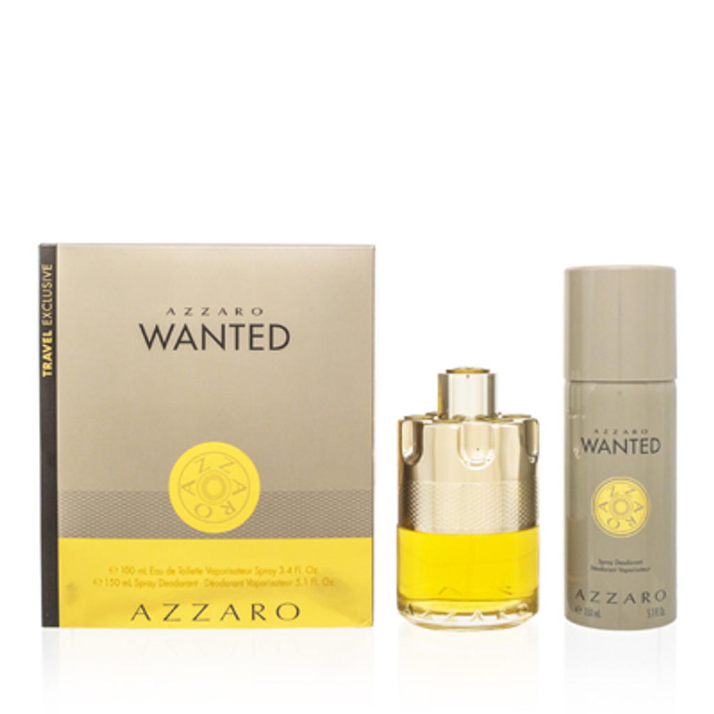 AZZARO WANTED/AZZARO SET (M) EDT SPRAY 3.3 OZ DEODORANT SPRAY 5.0 OZ IN GIFT BOX