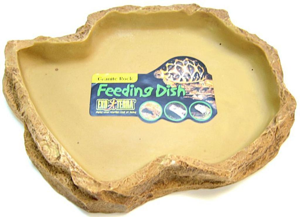 "LM Exo-Terra Granite Rock Reptile Feeding Dish X-Large - 11""L x 8""W x 1.5""H"