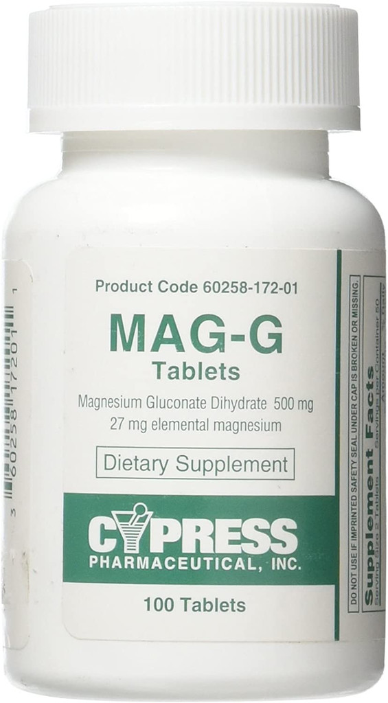Mag-G Tablets Magnesium Gluconate Dietary Supplement 100 Tablets by Cypress Pharma