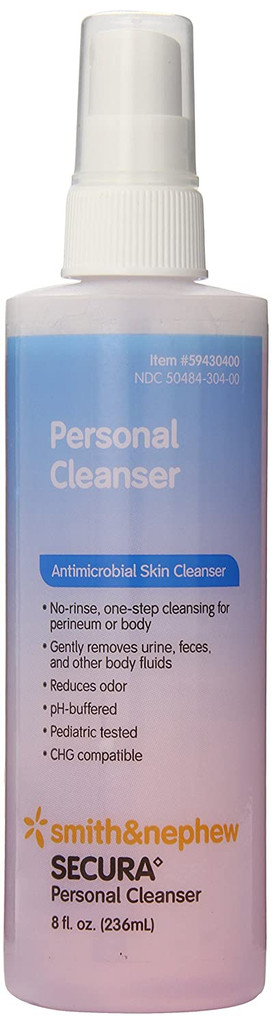 Secura Personal Cleanser 8 oz No-rinse one-step cleansing for perineum and body saves time.