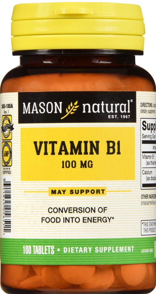 Mason Natural Vitamin B-1 100 Mg Tablets 100 Counts