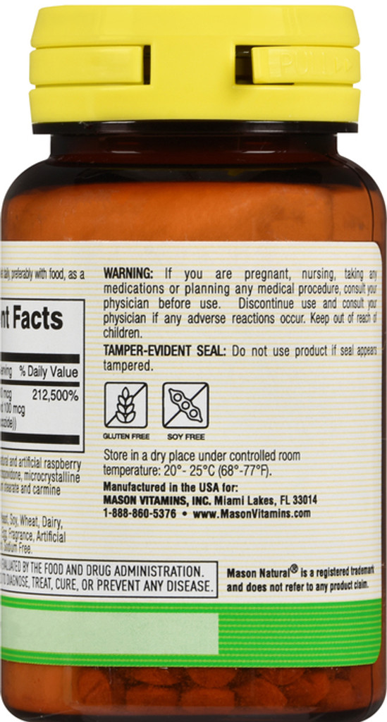 Mason Vitamin B 12 cyanocobalamin 5000 mcg Dissolves Under Tongue Tablets 30 Count