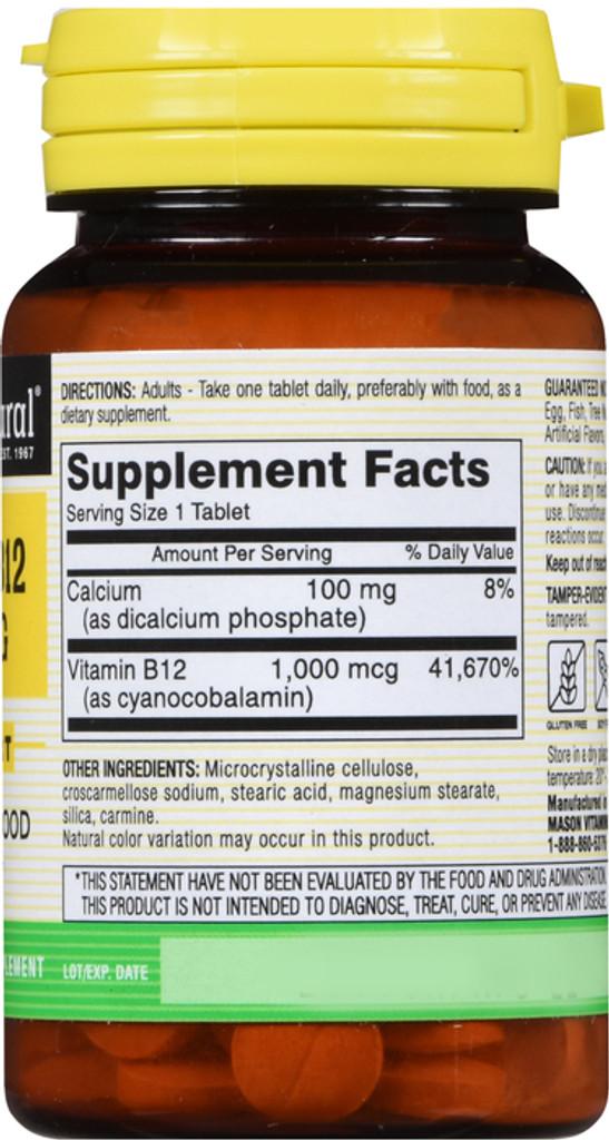 Mason Naturals Vitamin B-12 cyanocobalamin 1000 Mcg 60 Tablets  support conversion of food into energy