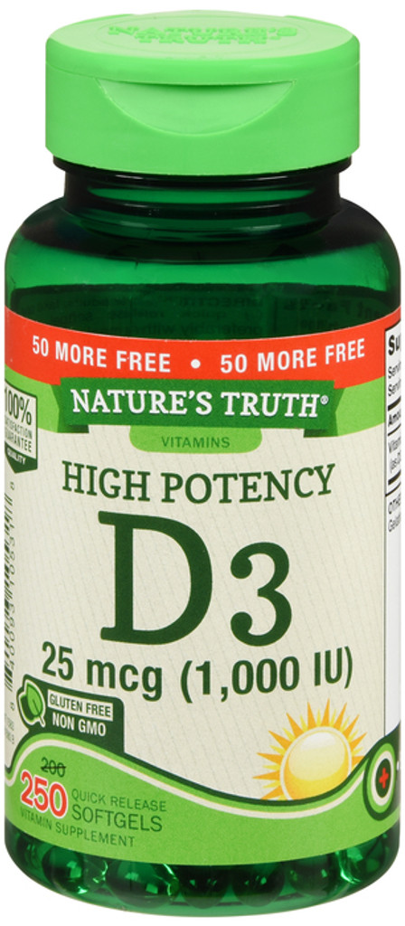 Nature's Truth Vitamin D3 1000 IU Value Size 200+50 Count