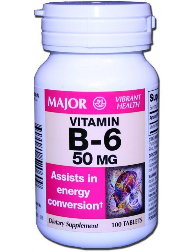 Major Vitamin B6 50mg Tablet 100 Count Assists in energy conversion