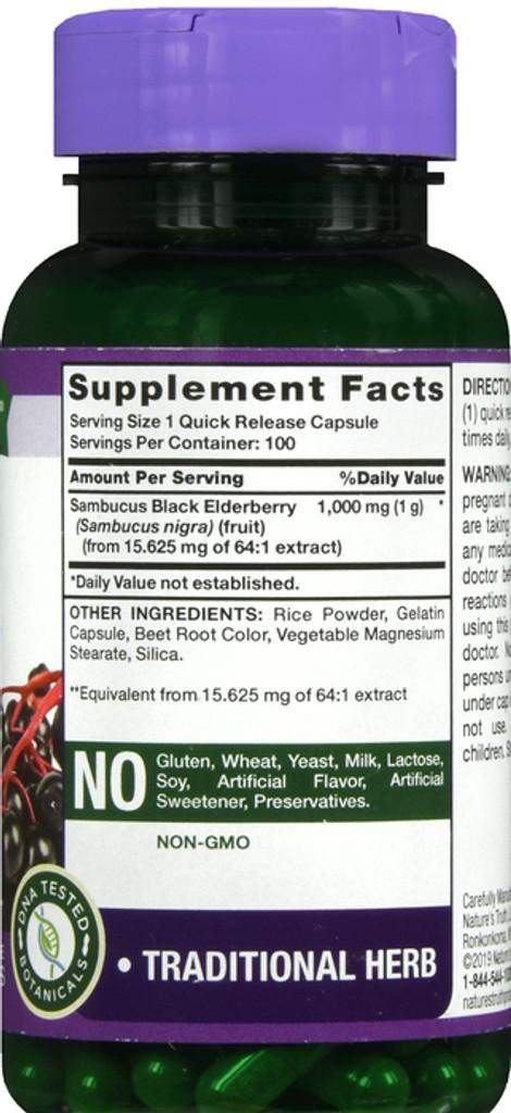 Nature's Truth Black Elderberry Capsules 1000mg 100 Count Super Concentrated Sambucus Extract Non-GMO Gluten Free