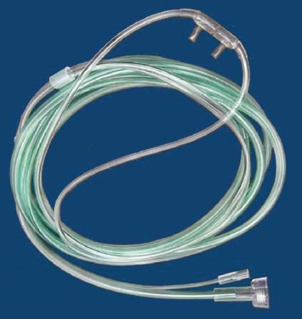 ETCO2 Nasal Sampling Cannula with O2 Delivery With Oxygen Delivery McKesson Adult Curved Prong / NonFlared