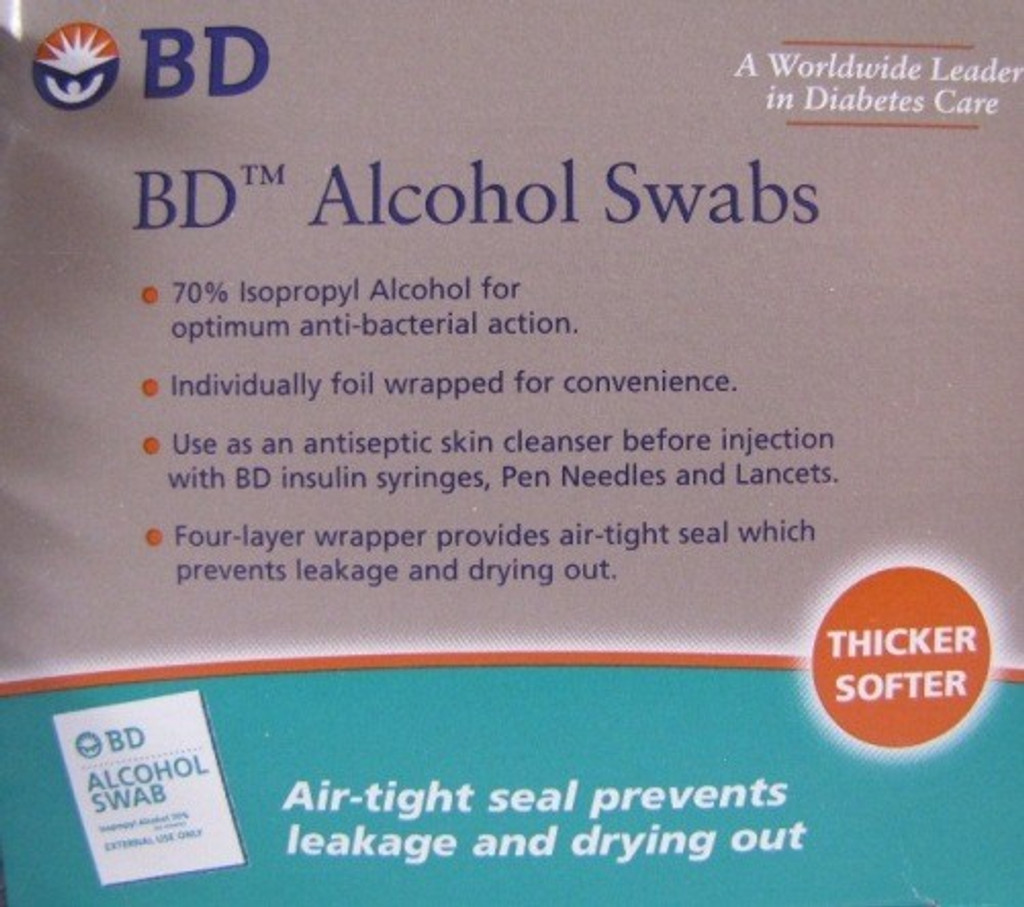 BD Alcohol Swabs 100 per Box skin cleanser