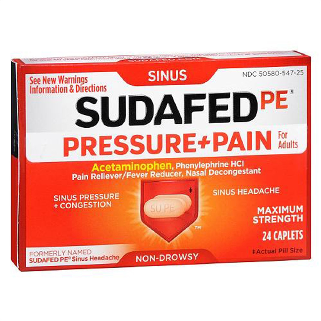 Sudafed PE Pressure + Pain Maximum Strength Caplets For Adults, Non Drowsy - 24 ea
