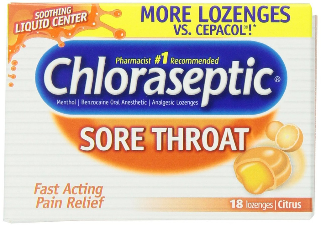 Chloraseptic Sore Throat Lozenges with Soothing Liquid Center, Citrus, 18 Count